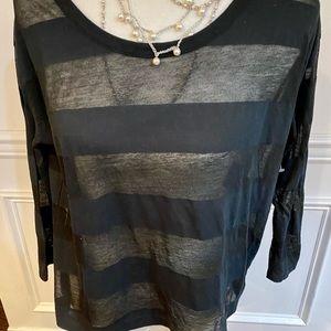 Soft Joie Semi Sheer Black Striped 3/4 sleeve Med